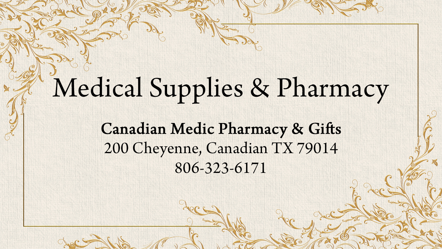 listing medical supplies pharmacy