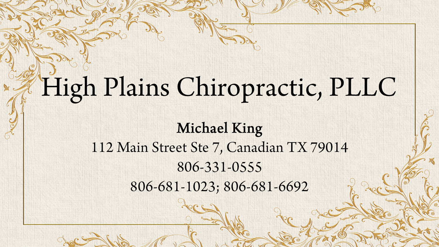 listings high plains chiropractic