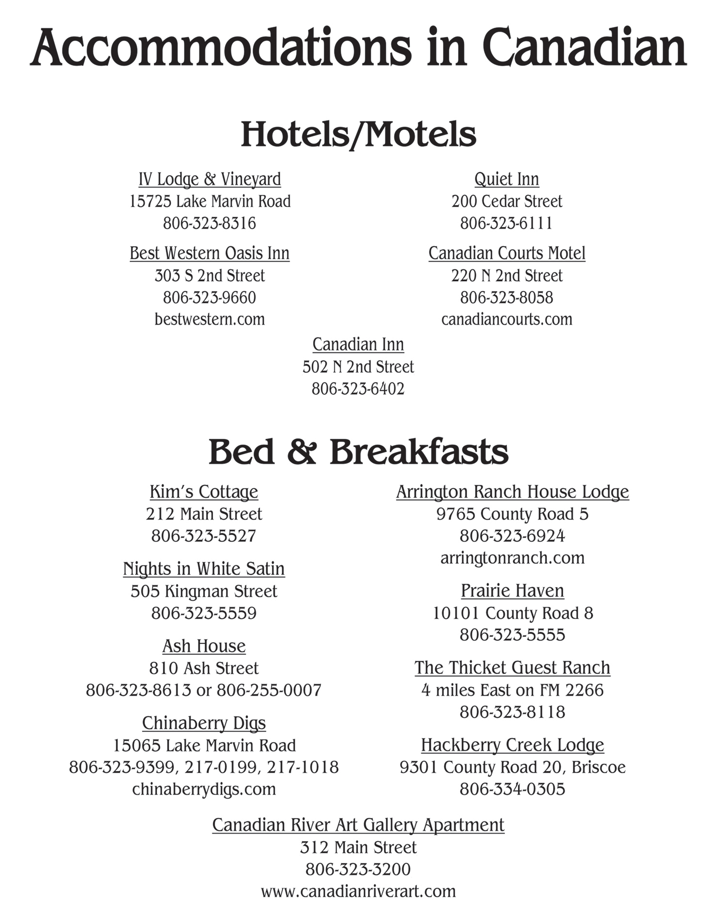 lodging in canadian list 1