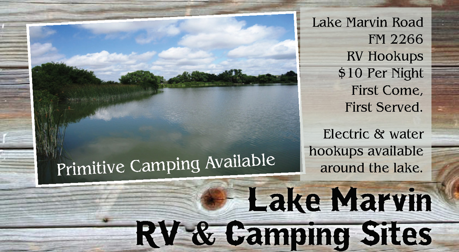 lodging lake marvin rv park